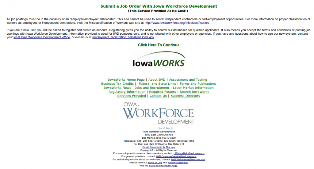 Iowa SWA Job Order PERM Ads Immigration Advertising
